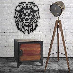 Escultura Leão Geométrico Quadro Decorativo Vazado
