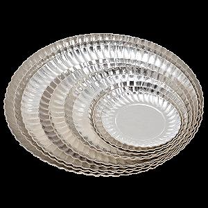 Prato de Papelão Laminado Prata N°5 - 21,50 cm 100 unidades