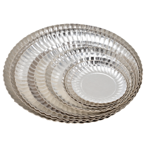 Prato de Papelão Laminado Prata N°7 - 26 cm 100 Unidades