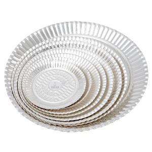 Pratos de Papelão Laminado Prata Linha P  N°12 - 36 cm 100 unidades