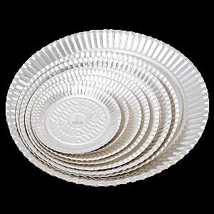 Pratos de Papelão Laminado Prata Linha P  N°10 - 33 cm 100 unidades