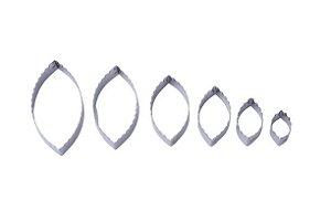 Cortador Folha de Rosa com 6 Peças Inox