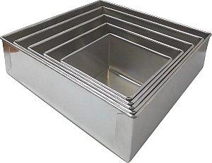 Forma Para Bolo Quadrada 5 Peças Alumínio - 10 Cm de Altura