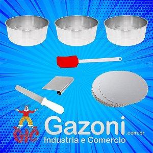 Super Kit Confeiteiro 16 Peças Espatula Cake Board 3 Formas