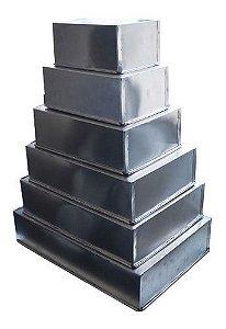 Conjunto Formas Retangular Para Bolo 6 Pçs  Alumínio 10cm