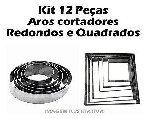 Kit 12 Peças Aro Cortador Redondo E Quadrado Para Bolo
