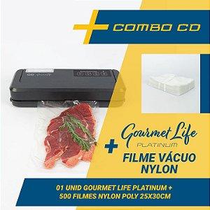 Combo Seladora a Vácuo Automatica Gourmet Life Platinum com reservatório para líquidos + 500 sacos (25x30)