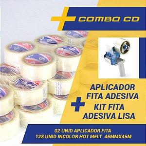 Kit 128 Fitas Adesivas Hot Melt 45 mm X 40 Metros + 02 Aplicadores de Fita Adesiva