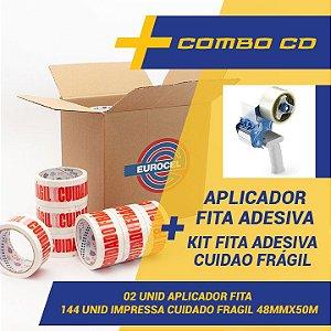 Kit 144 Fitas Adesivas Hot Melt Cuidado Frágil 48 mm X 50 Metros + 02 Aplicadores de fitas