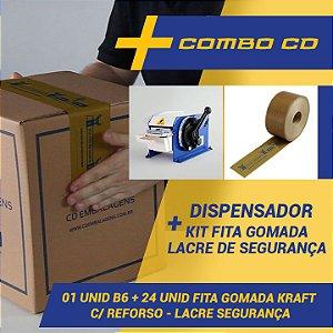 Máquina Dispensador Para Fita Gomada B6 + Kit 24 Fitas Gomada Lacre De Segurança