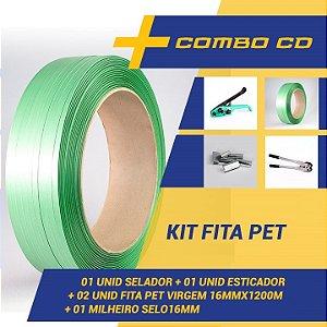 Kit Arqueação Fita Pet - 01 Esticador + 01 Selador + 01 Milheiro Selo + 02 Fita Pet