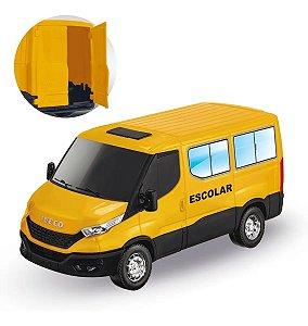 Brinquedo Miniatura Van Iveco Daily Van Escolar Abre Porta