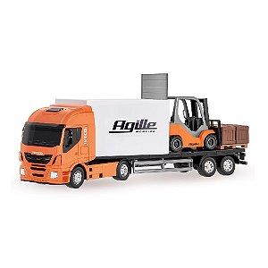 Brinquedo Caminhão Iveco HI WAY Com Empilhadeira Miniatura Usual