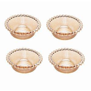 Conjunto 4 Bowls Em Cristal 9x4cm Wolff Pearl Ambar