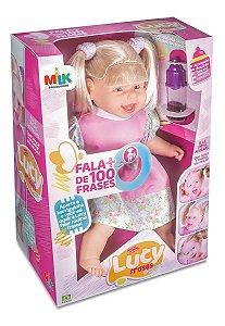 Boneca Lucy Fala 100 Frases Milk Brinquedos Acompanha Mamadeira e Chuquinha