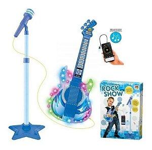Guitarra Infantil Com Microfone E Pedestal Dm Toys Rock Show Azul