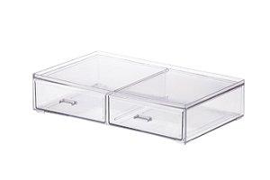 Caixa Organizadora C/ 2 Gavetas 22,5-16,5-8,5cm - Transparente