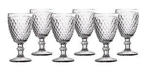 Jogo 06 Taças Água Bico De Abacaxi Transparente Casa Ambiente