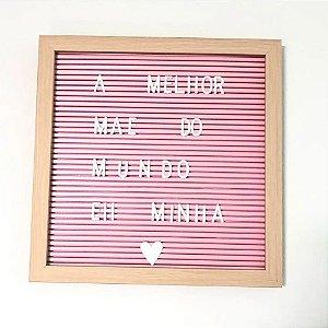 Quadro Mural Letreiro Letras E Números Para Encaixar Rosa