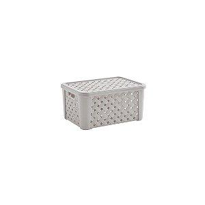 Caixa Organizadora Plástico Rattan 24 X 17 x 12 Creme 709