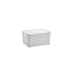 Caixa Organizadora Plástico Rattan 24 X 17 x 12 Branco 709