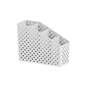 Organizador De Plástico Rattan Com 4 Divisórias Branco- 827