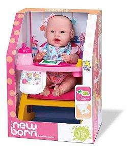 Boneca Bebê New Born Primeira Papinha C/acessórios-divertoys 8113