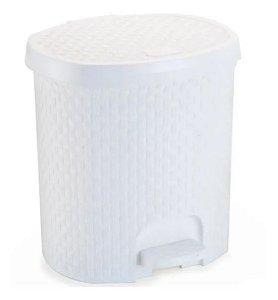 Lixeira Com Pedal Rattan 6 Litros Para Cozinha Banheiro Branco