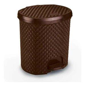 Lixeira Com Pedal Rattan 6 Litros Para Cozinha Banheiro Marron