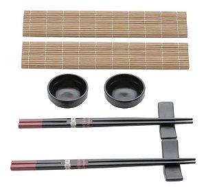 Conj. 8pc P/sushi De Bambu E Cerâmica Yokohama Lyor