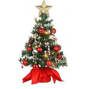 Mini Árvore De Natal Completa + Enfeites Luxo