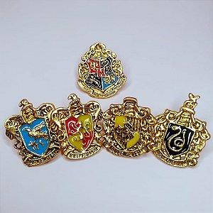 Pins Metálicos das Casas de Hogwarts - Harry Potter