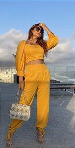 Conjunto de blusa cropped manga comprida e calça com amarração em viscose