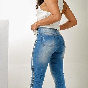 Calça jeans com listras black white  na lateral