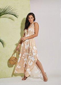 Vestido longo frente única estampado de seda
