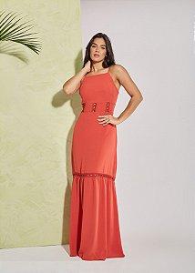 Vestido longo viscose com detalhe de guipir