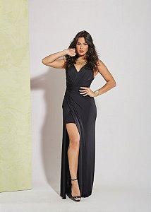 Vestido longo preto com fenda