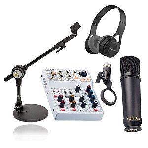 Kit Gravação e Rádio Web Interface Microfone Pedestal e Fone