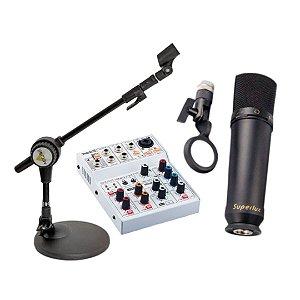 Kit Gravação e Rádio Web Interface Microfone e Pedestal
