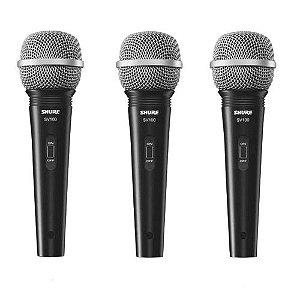 Kit 3 Microfone De Mão Com Fio Preto SV100 - SHURE
