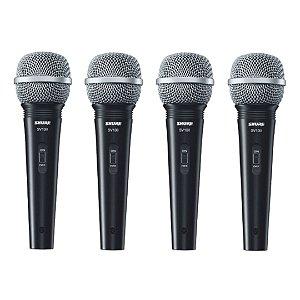 Kit 4 Microfone De Mão Multifuncional Com Fio Preto SV100 - SHURE