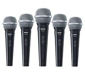 Kit 5 Microfone De Mão Multifuncional Com Fio Preto  SV100 - SHURE