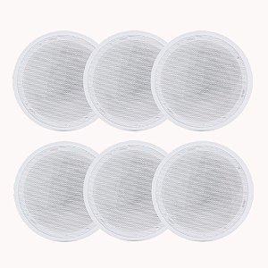 Kit 6 Caixas Acústicas Arandela Orion 6P Redonda 55W 8R Branca