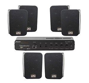 Kit Som Ambiente Amplificador Frahm Slim 2000 App + 3 Par caixas MSA105 Preta Myniko