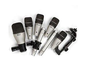 Kit com 7 Microfones Para Bateria Samson DK-7 Dinâmico C/ Case