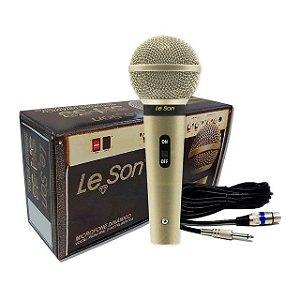 Microfone Cardióide Leson SM-58 P4 Com Cabo 5 Mt Champanhe