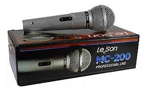 Microfone de Mão Leson MC 200 Com Cabo 5 Mt Prata