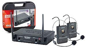 Microfone Headset Sem Fio Duplo UHF DVS100 DH 16 Canais - VOKAL