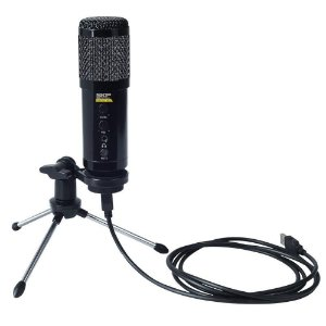 Microfone Condensador SKP USB Tripé Podcast 400u Preto