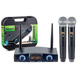 Microfone Karsect KRD-200DR Duplo Mão S/Fio Recarregável